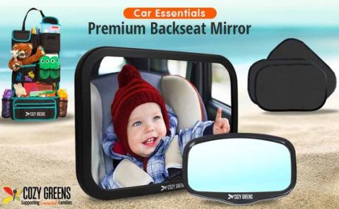 Baby Car Mirror for Back Seat | View Rear Facing Infant in Backseat | CRASH TESTED Best Newborn Safety Secure Double-Strap