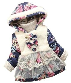 Baby Girl Floral Bowknot Thickened Warm Jacket