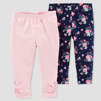 Baby Girls' 2pk Floral/Solid Pants - Just One You™ Made by Carter's