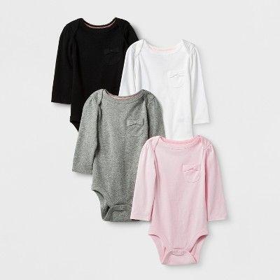 Baby Girls' 4pk Long Sleeve Bodysuits Cloud Island